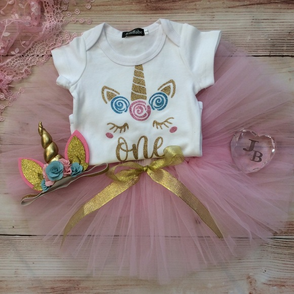 54710f21 Dresses | Boutique Baby Girl Unicorn 1st Birthday 3pc Outfit | Poshmark